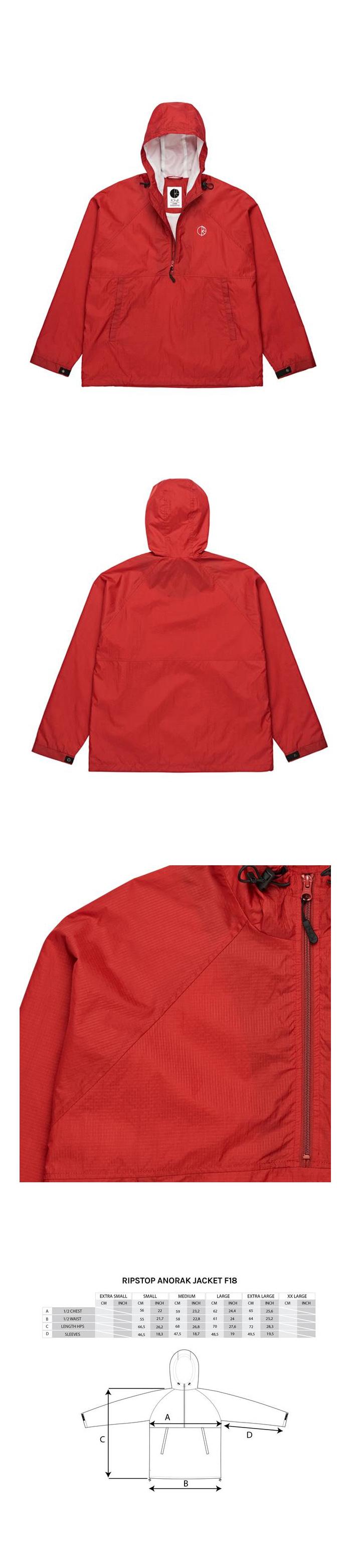 폴라(POLAR) Ripstop Anorak Jacket - Red