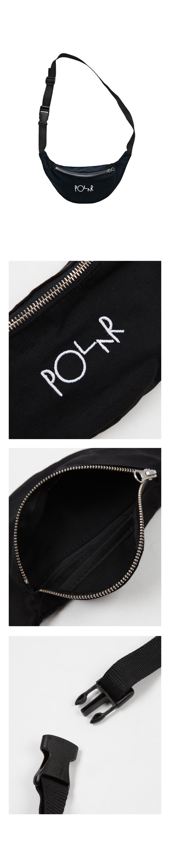 폴라(POLAR) Script Logo Hip Bag - Black
