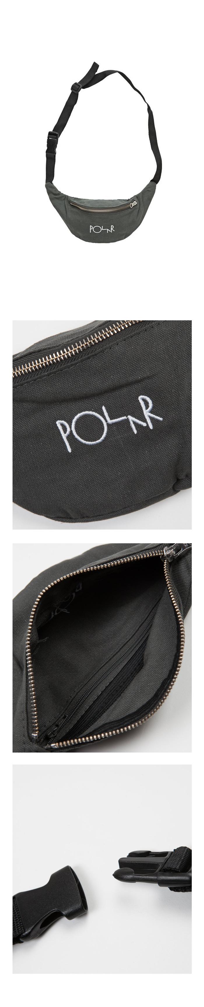폴라(POLAR) Script Logo Hip Bag - Grey Green
